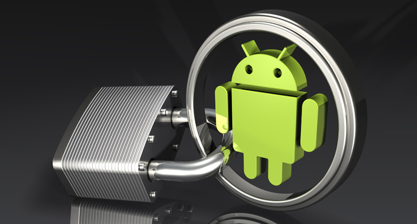 3d illustration of a large padlock attached to a metallic green and silver Google Android logo over a dark reflective surface