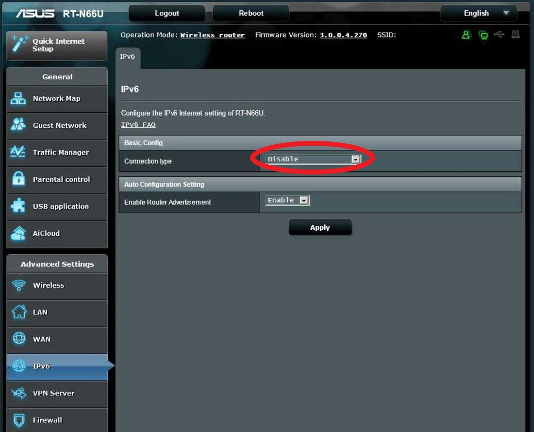Disable IPv6 Asus Router
