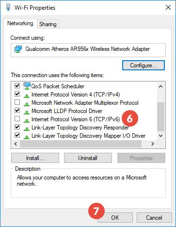 disable ipv6 windows 10