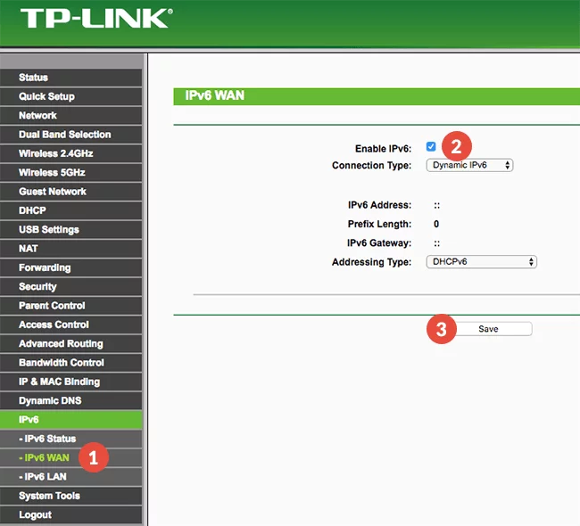 Disable IPv6 TPLink